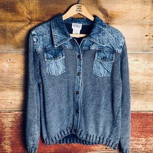 PBJ Blues denim/sweater cardigan